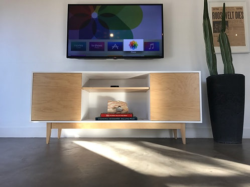 (M10) White with Maple 2 Door TV Console - Straight Leg