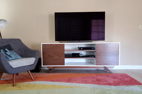 White and Mahogany TV Stand - Angled Leg