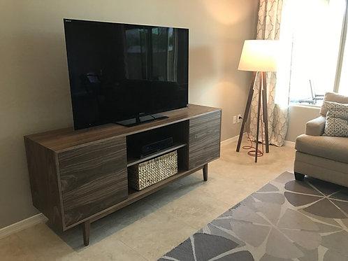 (W15) Mid Century Style Walnut TV Stand / Buffet - Straight Leg
