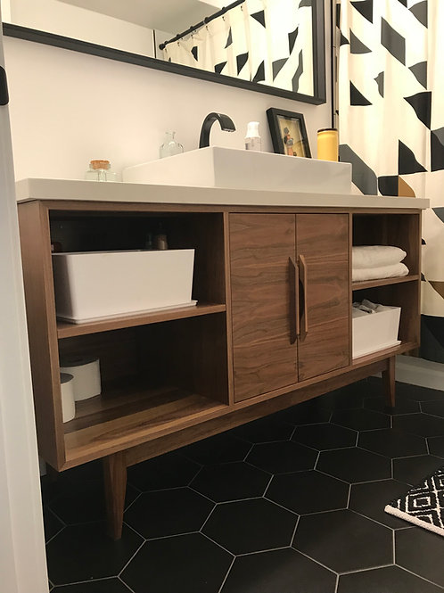 """Walnut 60"""" Bathroom Vanity - Center Double Door with Shelves on Right and Left"""