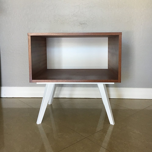 White & Walnut Single Night Stand / Side Table