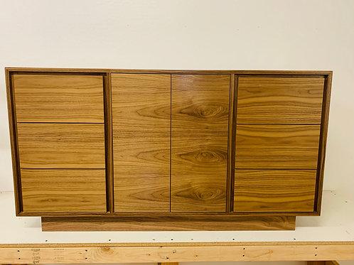 "(W61) 60"" Mid Century Style Walnut  Plinth Base Cabinet - Free Shipping!"