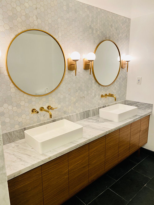 "96"" Overlay Door - Hand Built Mid Century Style Bathroom Vanity -  Free Shipping"