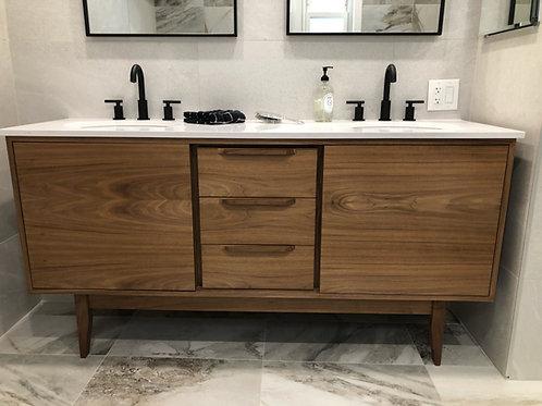 "60"" Mid Century Style Walnut 3 Drawer Bathroom Vanity - Straight Leg Base"
