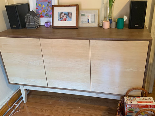 Mid Century Style Walnut & Maple Buffet - Straight Leg - Free Shipping!