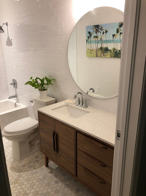Mid Century Style Bathroom Vanity Cabinet - Walnut - Free Shipping!