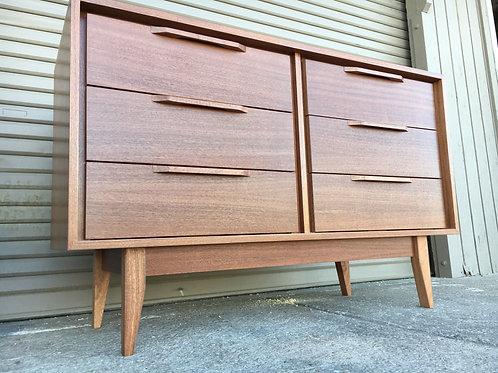 Mahogany 6 Drawer Dresser - Straight Leg Base