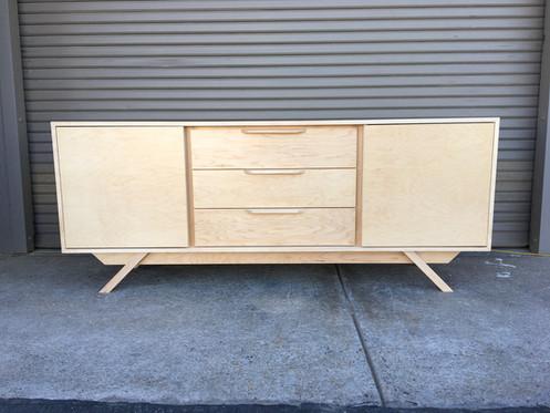2 Door 3 Drawer In Maple Credenza Angled Leg