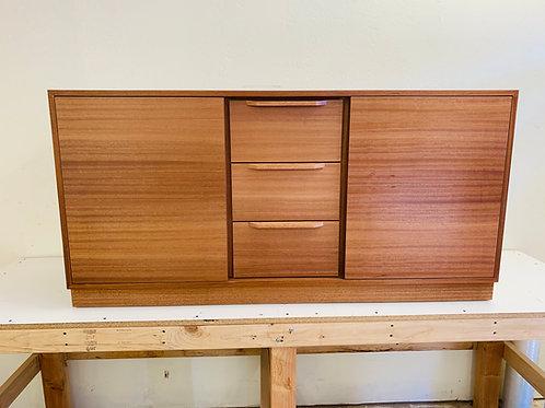 "60"" Mid Century Style Mahogany 2 Door / 3 Drawer Plinth Base Cabinet"