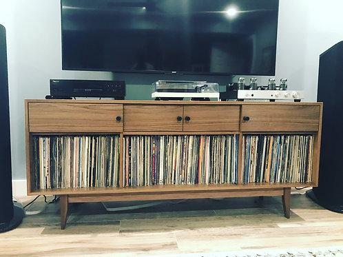 Walnut 4 Small Door Record Cabinet / Credenza - Straight Leg