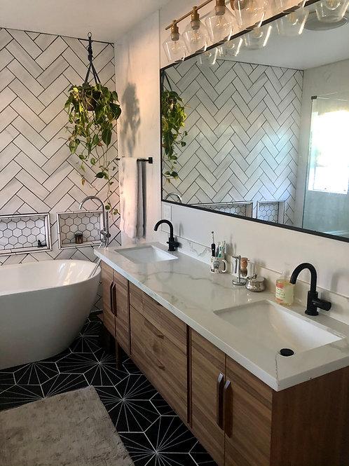 "(B42) 82"" Walnut Mid Century Style Bathroom Vanity Cabinet - Free Shippin"