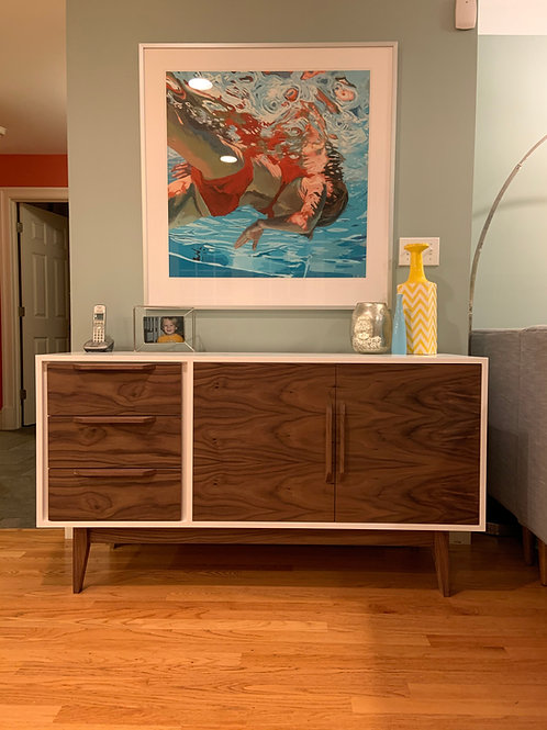 (W22) Two Tone Off-Set Drawers Credenza / Buffet - Free Shipping!