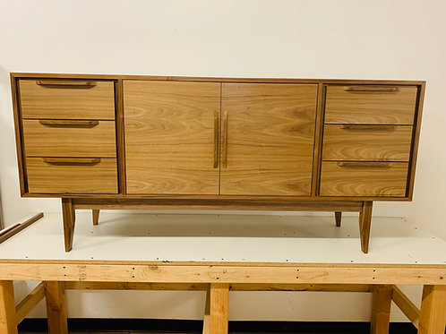Mid Century Style 6 Drawer with Center Door Walnut Credenza - Angled Leg