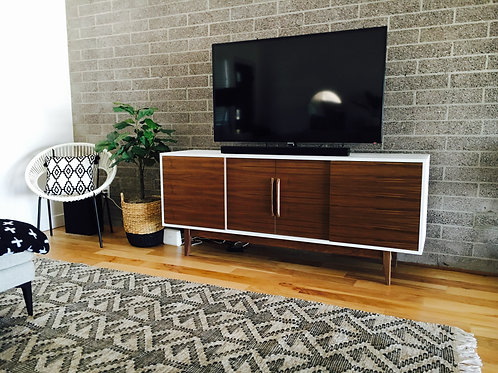(W2) Mid Century Style White and Walnut 4 Door - Straight Leg - Free Shipping!