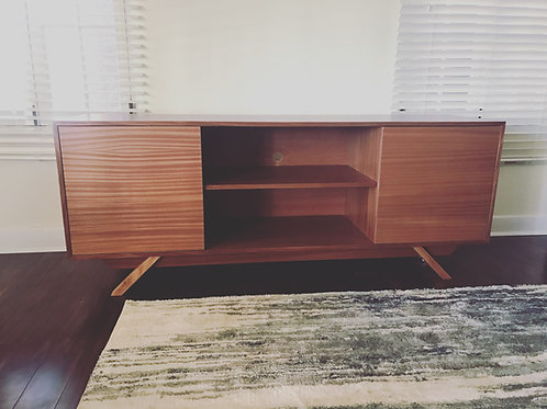 (Mah24) Mahogany 2 Door with Center Shelf TV Stand - Angled Leg - Mid Century