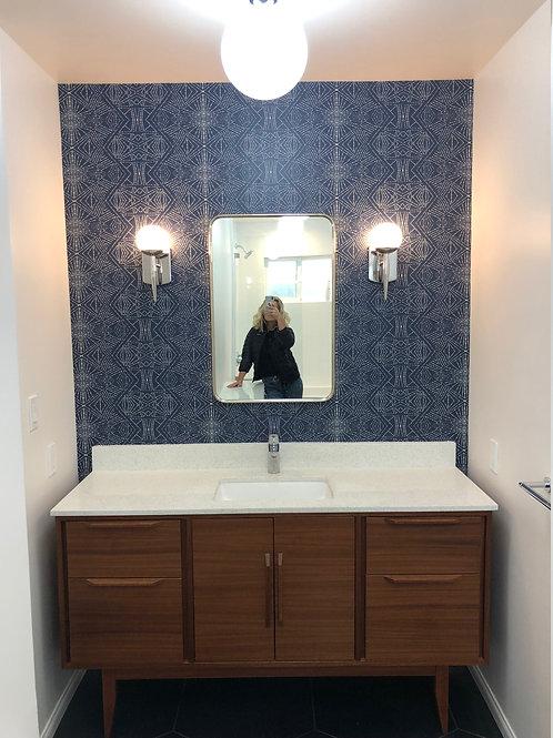 """4 Drawer with Double Door - 60"""" Mid Century Style Bathroom Vanity in Mah"""