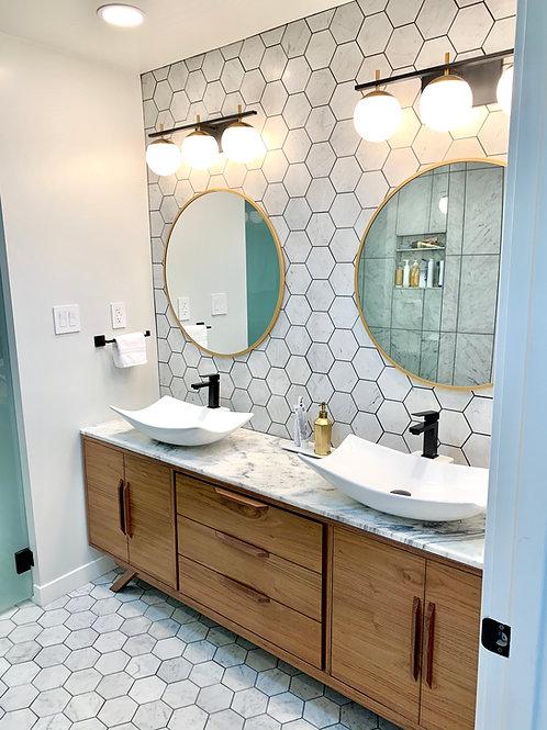 (B19) Double Door Walnut Vanity Cabinet / Angled Leg Base - Free Shipping