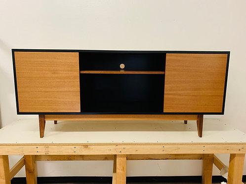 (Mah4) Black & Mahogany TV Console Cabinet - Free Shipping!