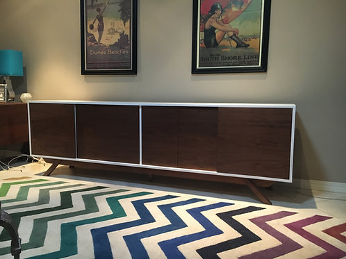 (W56) Mid Century Style  8' Media Console in Walnut - Free Shipping!