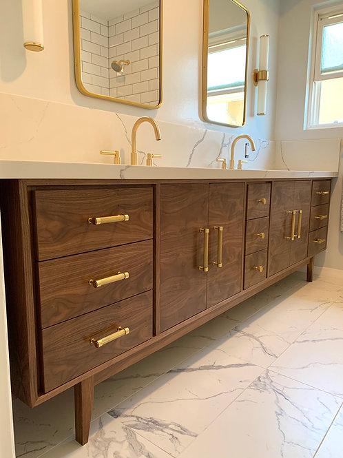 "(B4) Walnut 96"" - 9 Drawer Mid Century Style Bathroom Vanity -  Free Shipping"