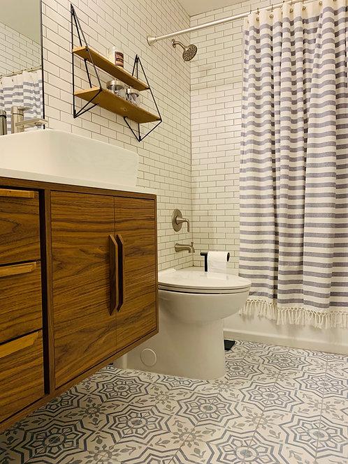 (B25) Floating Off-Set Walnut Bathroom Vanity Cabinet  - FREE SHIPPING