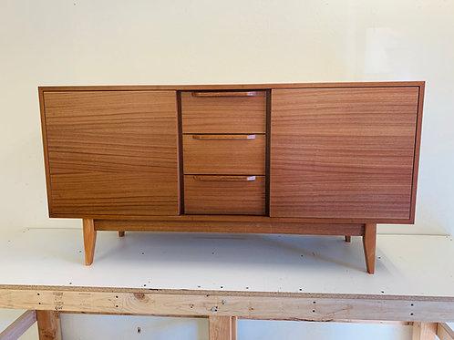 """(Mah1) 60"""" Mid Century Style Mahogany 2 Door / 3 Drawer TV Stand - Straight Leg"""