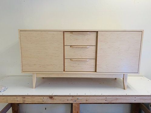 """(M11) 2 Door / 3 Drawer 60"""" in Maple Credenza - Straight Leg Base - Free Ship"""