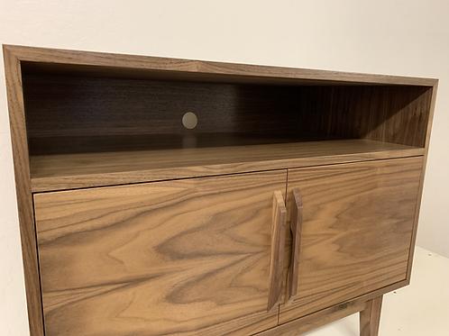 Walnut Mid Century Style Walnut Entry Cabinet - Shelf w/ Double door