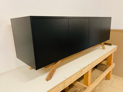 Black Credenza / Buffet / TV Console - 2 sets of Double doors with angled leg