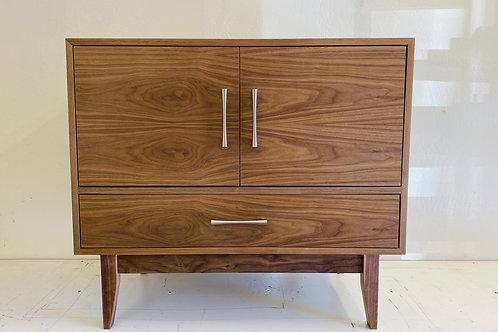 (W60) Mid Century Style Walnut 2 Door / 1 Drawer Vanity Cabinet / Buffet