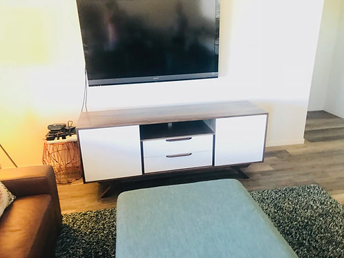 (W46) Mid Century Style Reverse Two Tone TV Console /  Credenza - Angled Leg