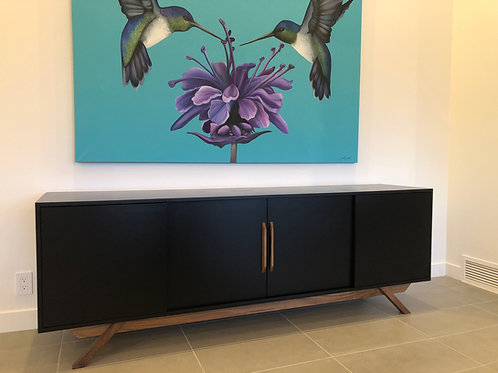 Black 4 Door Credenza with Walnut Leg Base