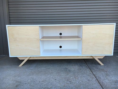 (M7) White and Maple Credenza - Angled Leg