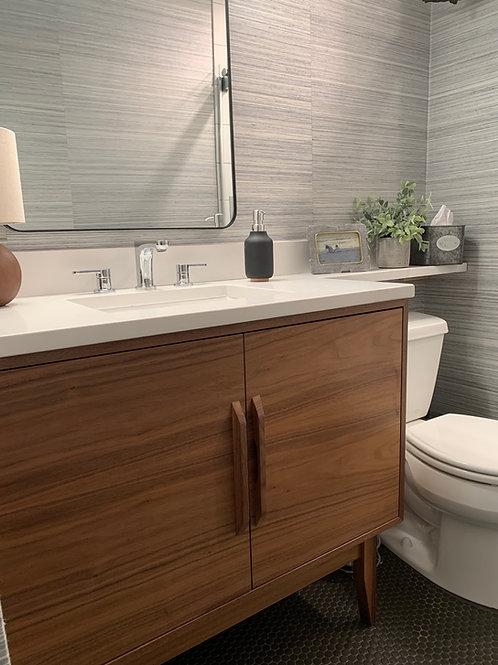 """(B33) Walnut 40"""" Double Door Bathroom Vanity Cabinet"""