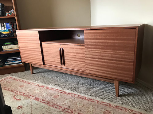 Mahogany Credenza with Shelf - Straight Leg