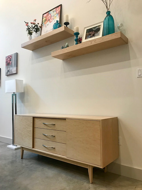 (M1) 2 Door / 3 Drawer in Maple Credenza - Straight Leg Base - Free Shipping!