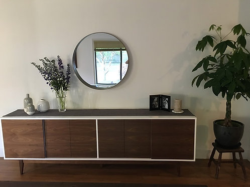 (W55) 8' Media Console in Walnut with Push Latch Close