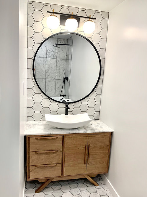 (B21)  Bathroom Vanity Cabinet - Off-Set Walnut / Angled Leg - Free Shipping!