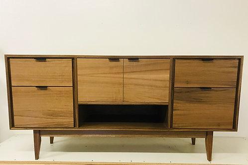 Mid Century Style Walnut TV Console / Buffet