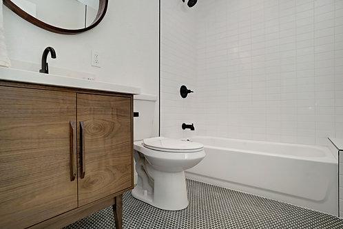 Mid Century Style Walnut 2 Door Cabinet - Straight Leg