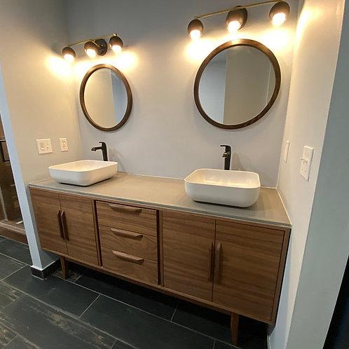 "(B2) 72"" Walnut Mid Century Style Bathroom Vanity Cabinet - Free Shipping"