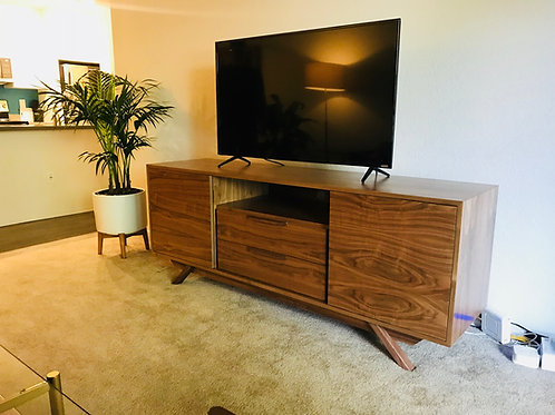 2 Door / 2 Drawer with Shelf Walnut Credenza - Angled Leg