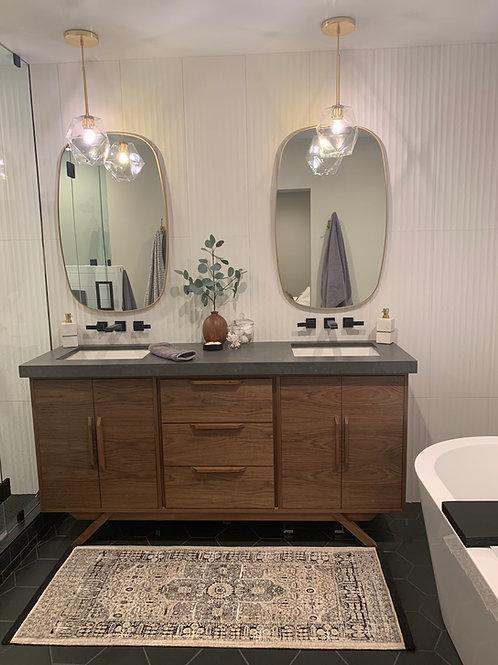"""(B18) Mid Century Style Walnut Bathroom Vanity / Angled Leg Base / 35"""" Height"""