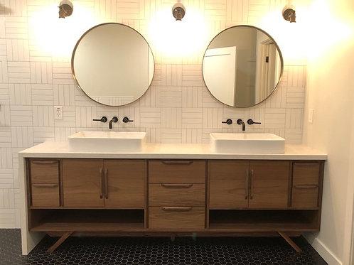 "Walnut 96"" Hand Built Mid Century Style Bathroom Vanity -  Free Shipping!"