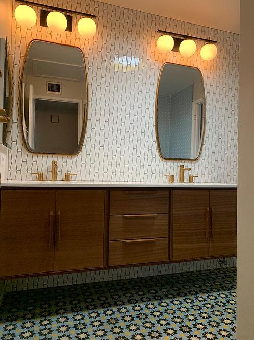 Floating Mid Century Style Walnut Double Door Bathroom Vanity - Free Shipping