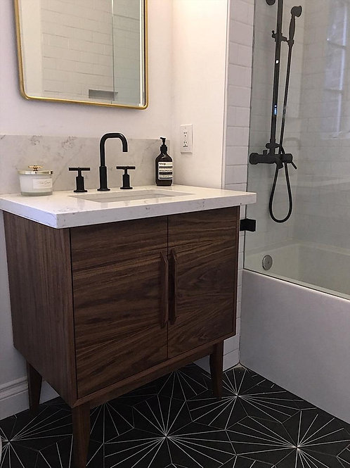 "Walnut 30""  2 Door Bathroom Vanity - Straight Leg"