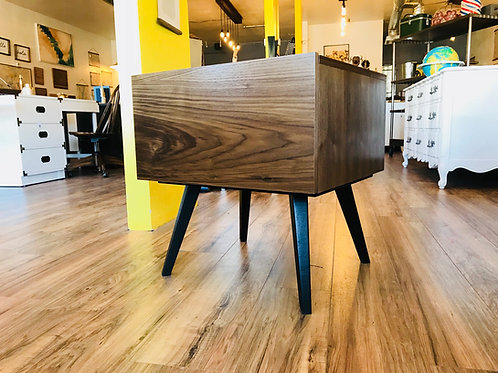 Pair of Walnut with Black Legs Single Night Stand / Side Table