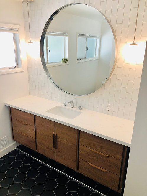 (B24) Floating Mid Century Style Walnut Bathroom Vanity