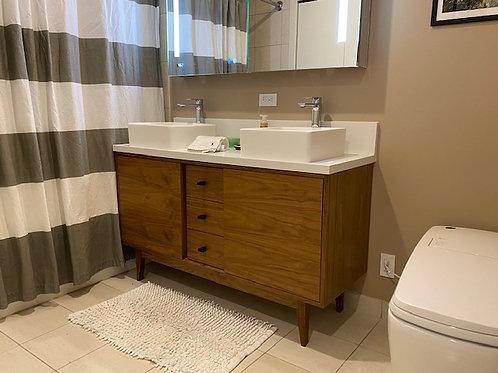 (B43) Mid Century Style Walnut 3 Drawer Bathroom Vanity - Straight Leg Ba
