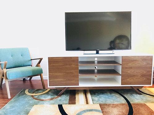 White and Walnut TV Stand - Angled Leg
